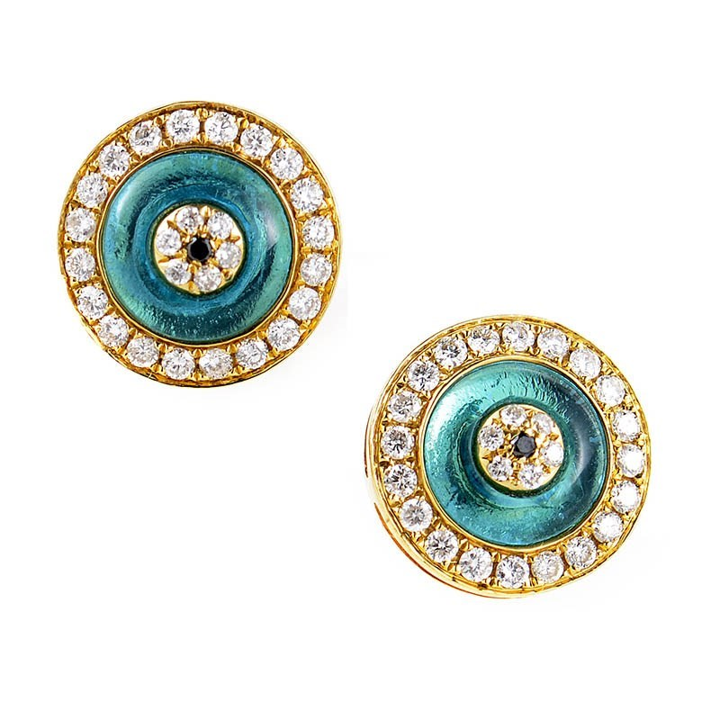 Women's 18K Yellow Gold Diamond Evil Eye Earrings CED8329