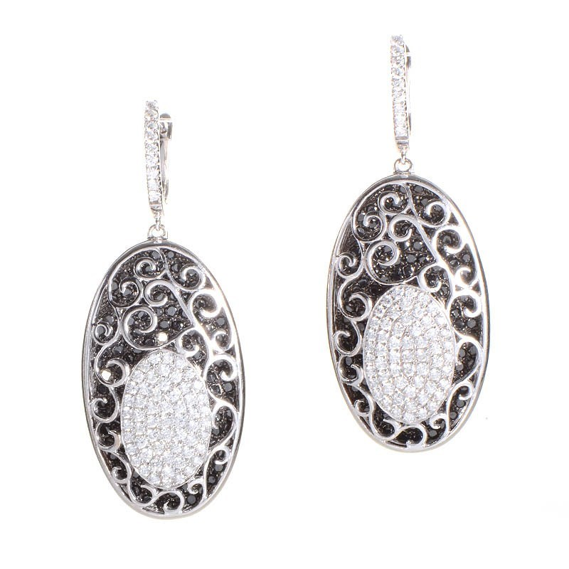 Luxurious 18K White Gold Black & White Diamond Drop Earrings