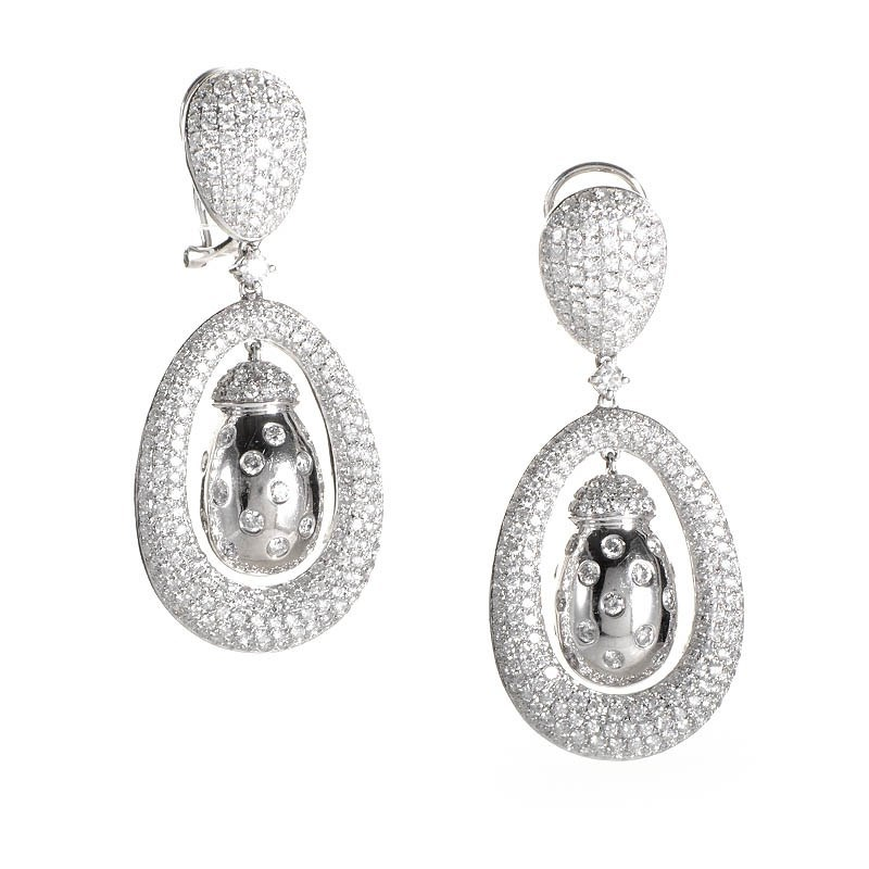 18K White Gold Diamond Dangle Earrings