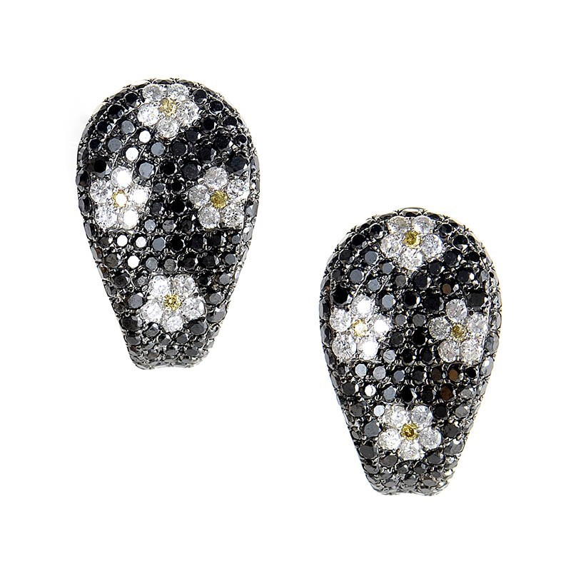 18K White Gold Diamond Daisy Earrings CED9114