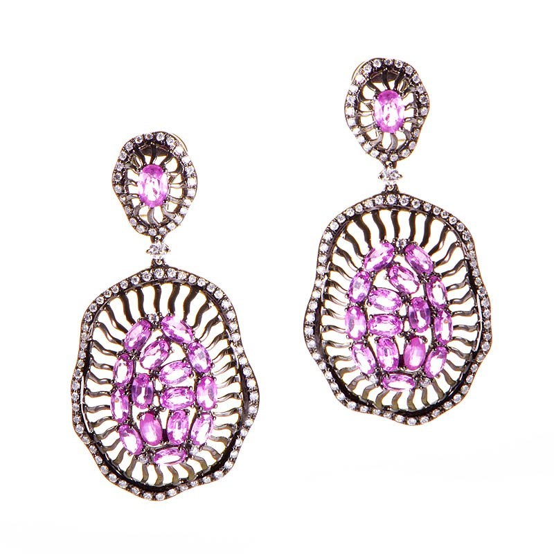 18K White Gold Pink Sapphire & Diamond Drop Earrings