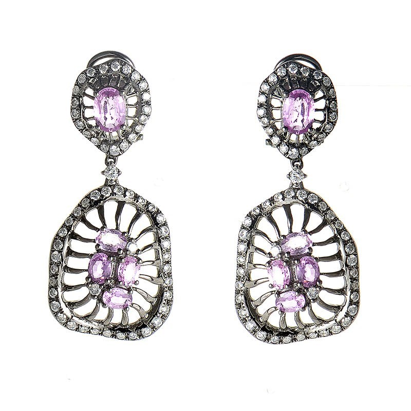 18K White Gold Diamond & Pink Sapphire Drop Earrings CED9136