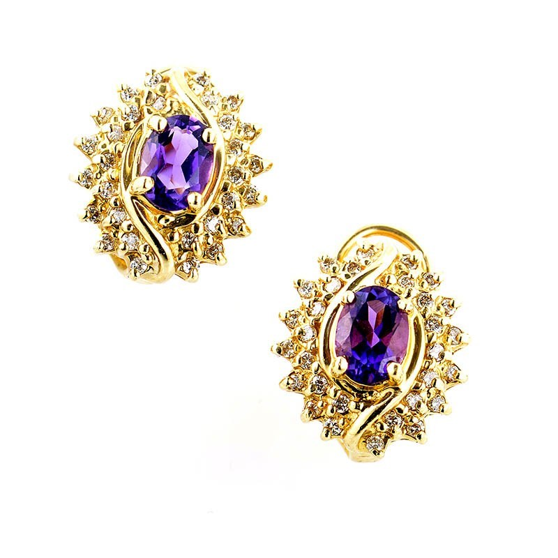 14K Yellow Gold Almond Shaped Amethyst & Diamond Earrings