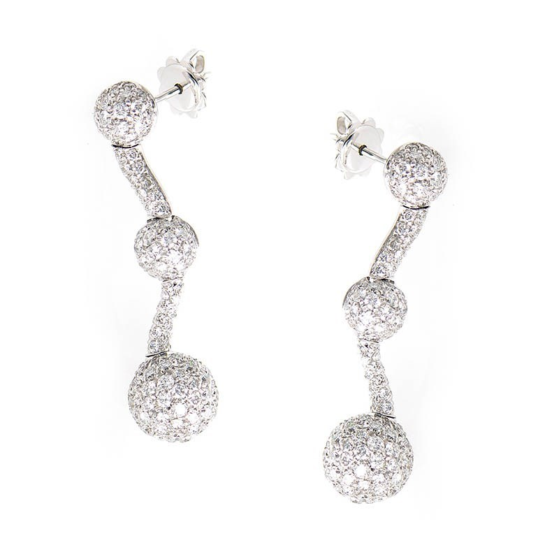 18K White Gold Diamond Pave Drop Earrings