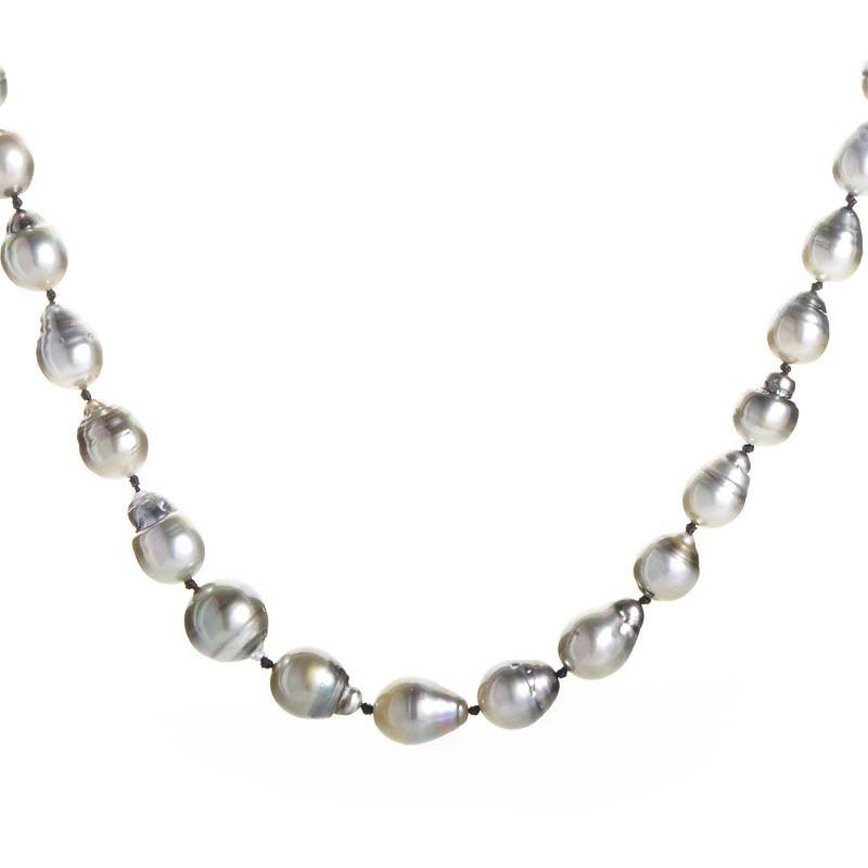 18K White Gold Baroque Pearl & Diamond Necklace