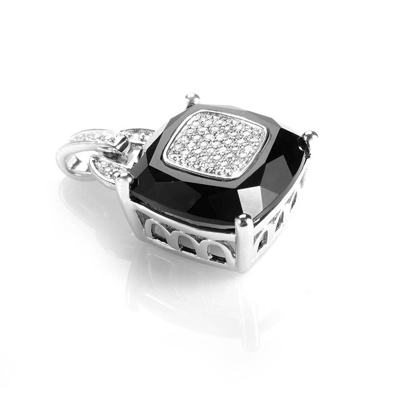18K White Gold Onyx and Diamond Pave Pendant CPD8116