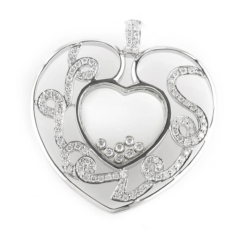 18K White Gold Floating Diamond Heart Pendant CPD8417