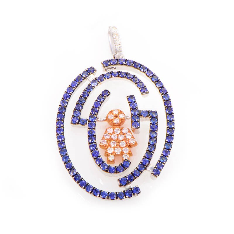 18K White & Rose Gold Diamond and Sapphire Man Pendant