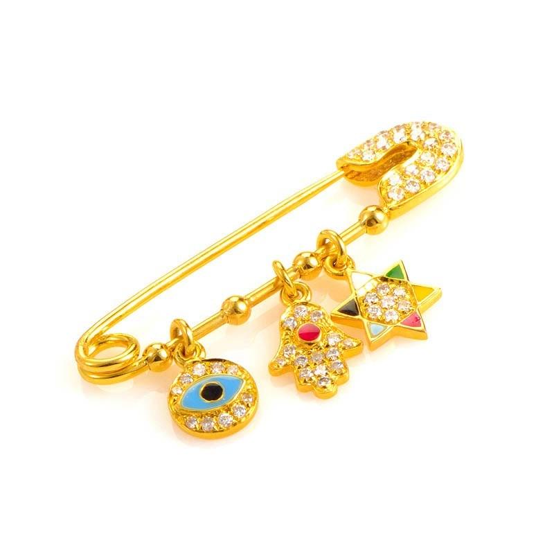 Women's 18K Yellow Gold Diamond & Enamel Judaic Charms Safety Pin PA06021RZZ