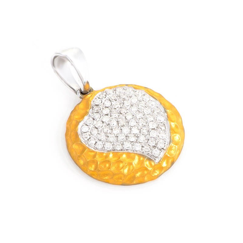 18K Yellow & White Gold Micro Pave Heart Pendant CPD8750