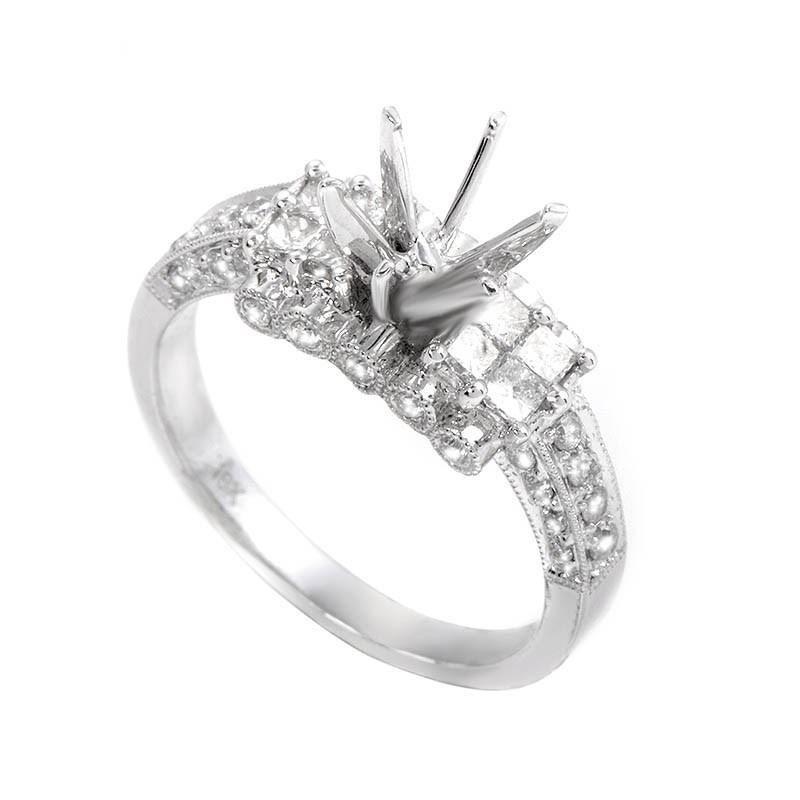 Fantastic 18K White Gold Diamond Ring Mounting