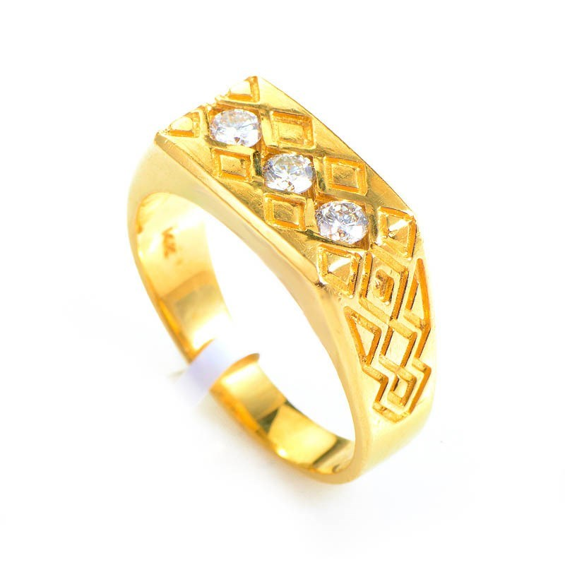 14K Yellow Gold & Diamond Tribal Men's Ring CRR10064Y