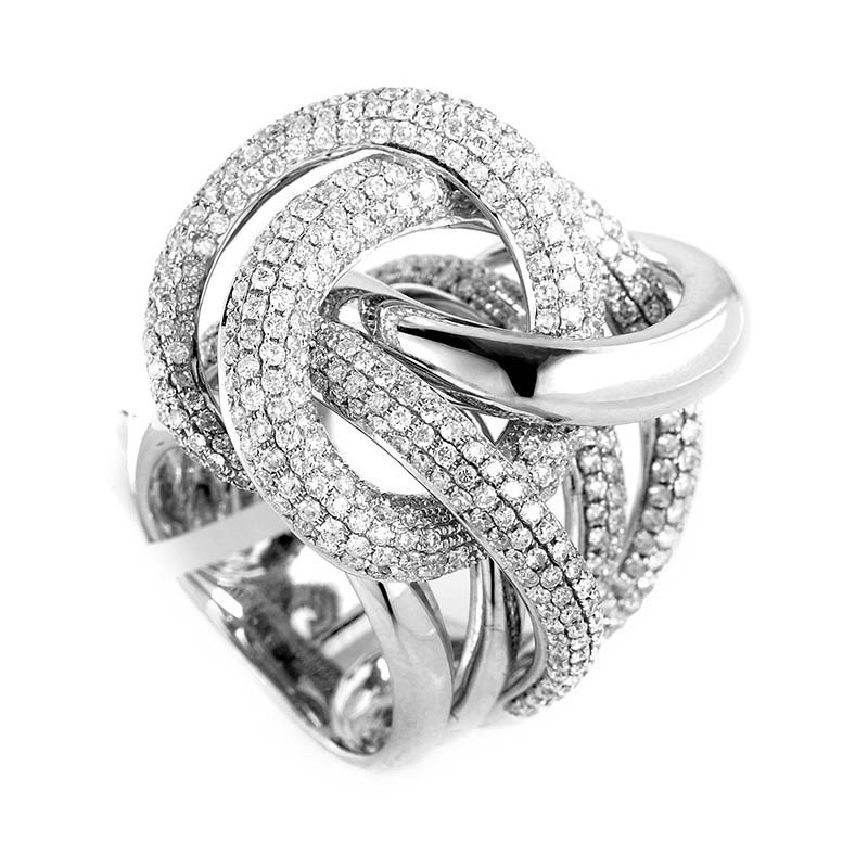18K White Gold Knotted Diamond Ring CRR10081