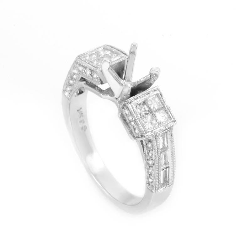 Chic 14K White Gold Diamond Mounting Ring