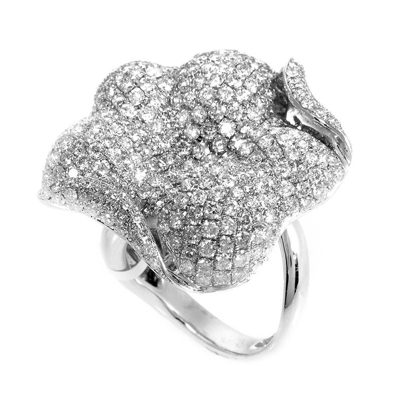 18K White Gold Diamond Micro Pave Flower Ring