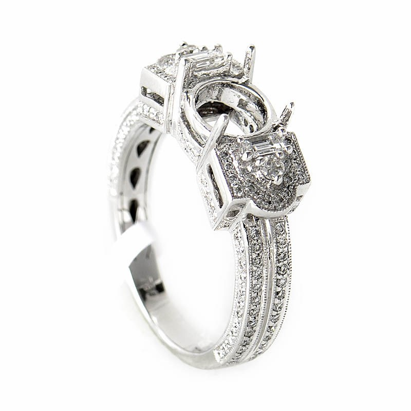 18K White Gold Diamond Mounting Ring CRR3995