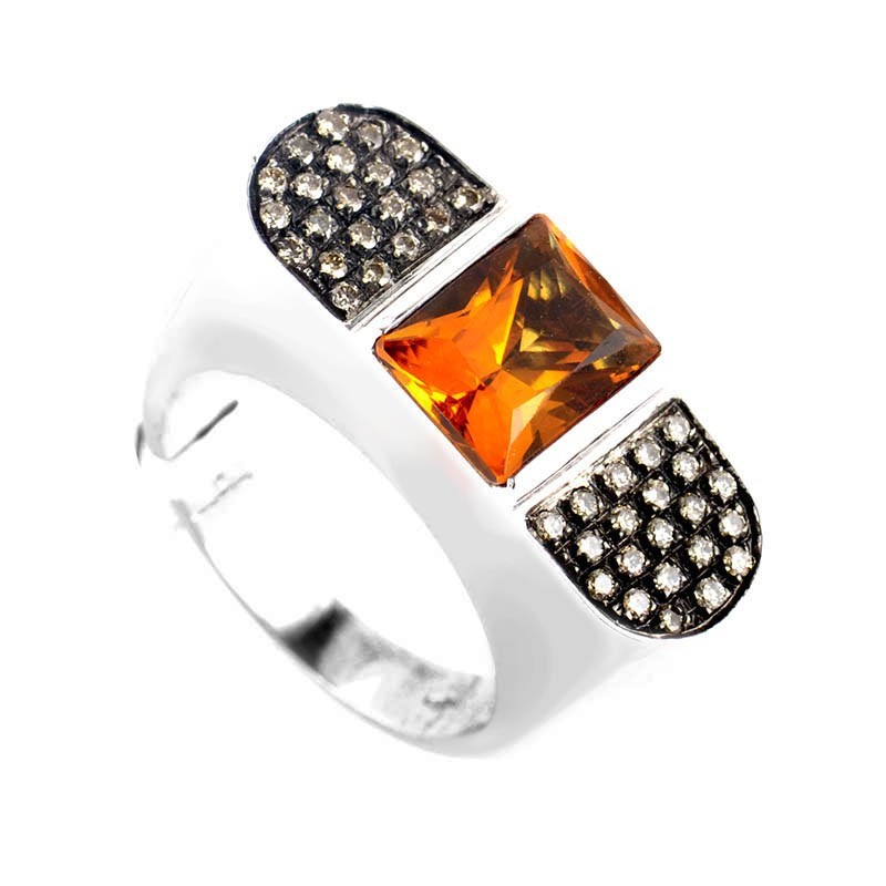 18K White Gold Orange Citrine & Champagne Diamond Ring