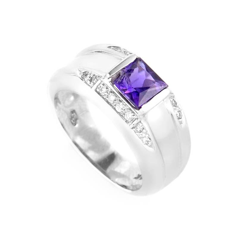 14K White Gold Amethyst & Diamond Band Ring
