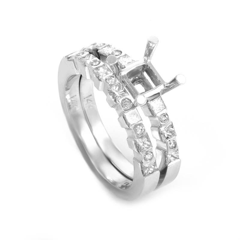 Glimmering 14K White Gold Bridal Mounting Set