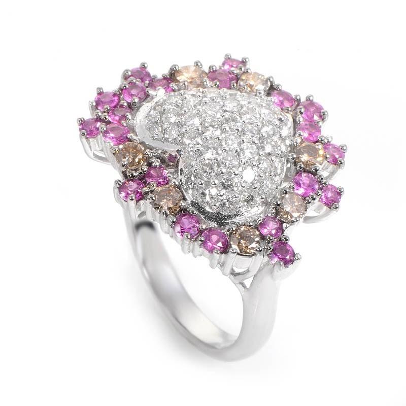 18K White Gold Multi Diamond & Pink Sapphire Heart Ring