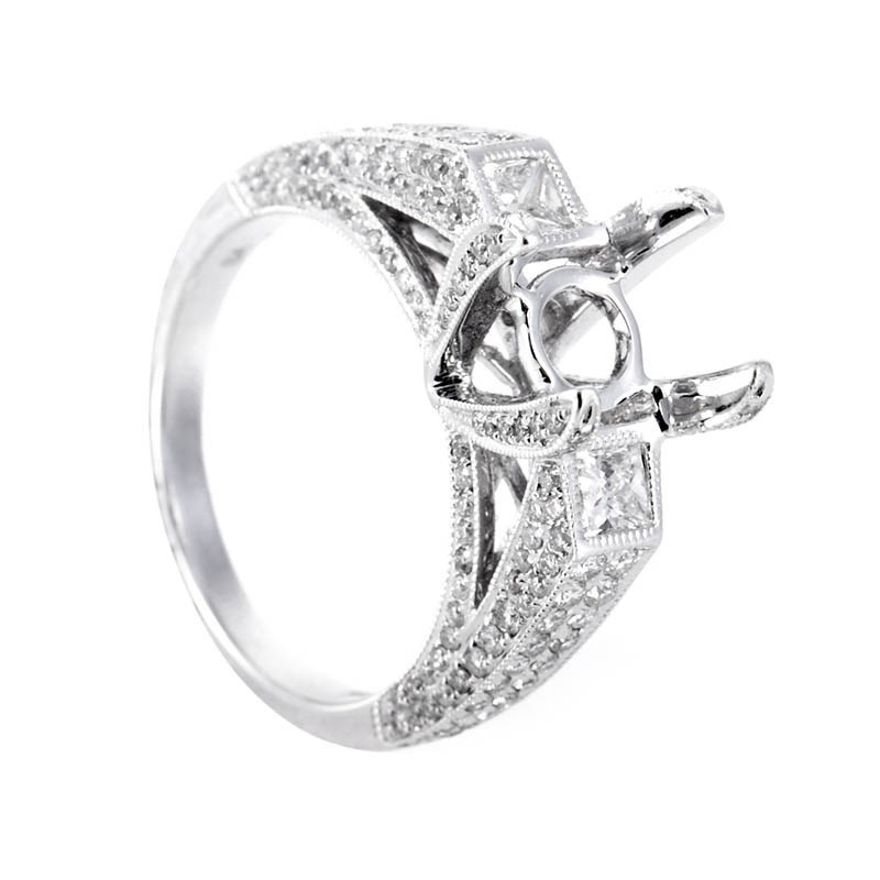 18K White Gold Diamond Bridal Mounting Ring CRR7910