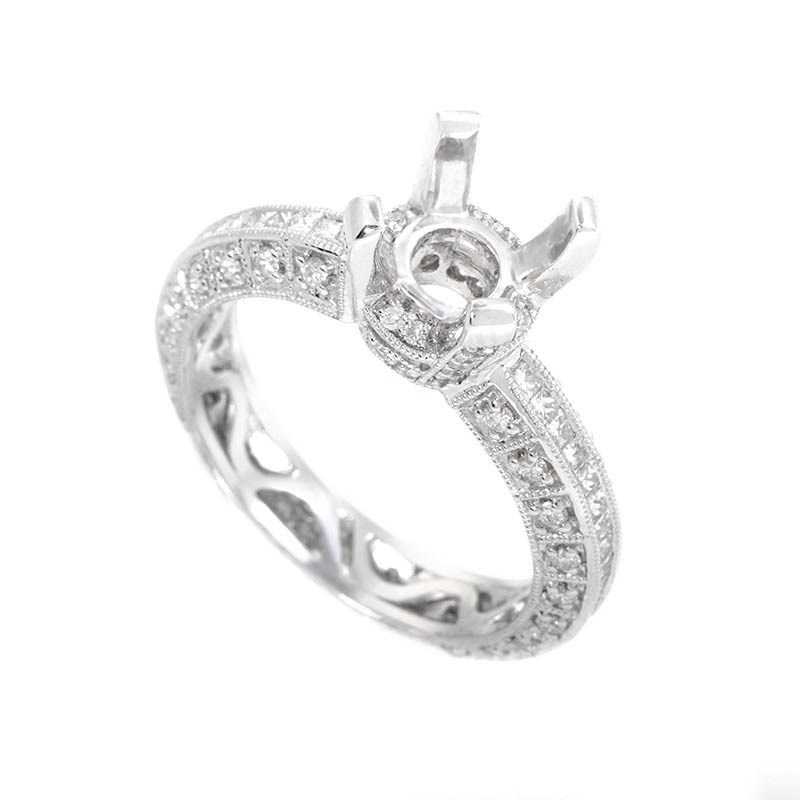 Intricate 18K White Gold Diamond Engagement Ring Setting