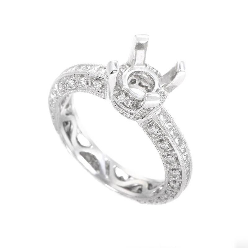Intricate 18K White Gold Diamond Engagement Ring Setting