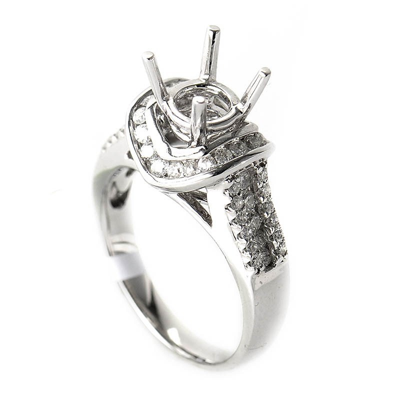 Lovely 18K White Gold Diamond Mounting Ring