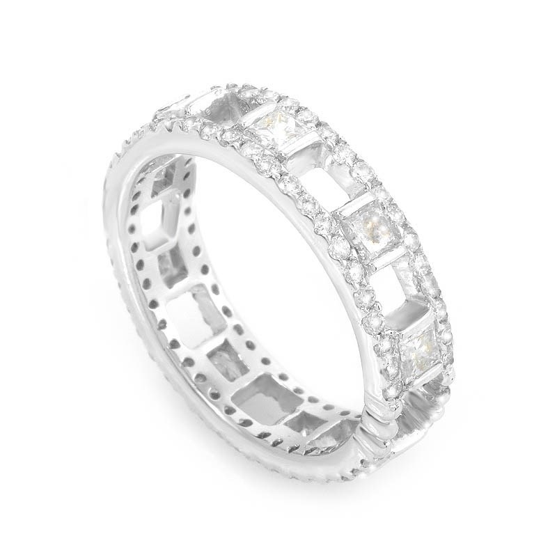 Openwork 18K White Gold Diamond Band Ring