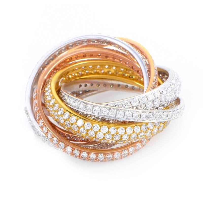 Unique 18K Multi Gold Multi Band Diamond Ring