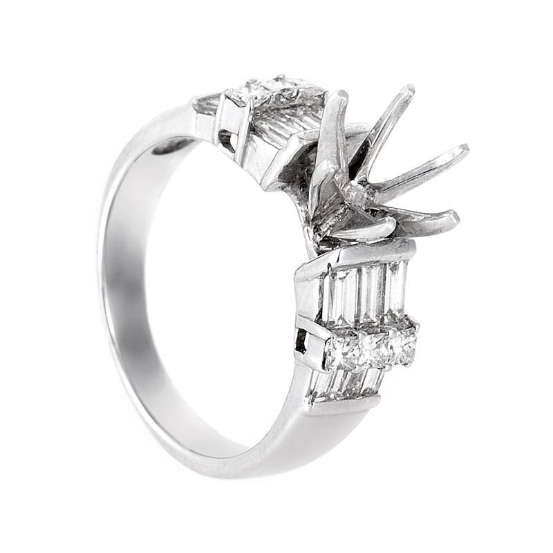 18K White Gold Bridal Mounting Ring CRR8934