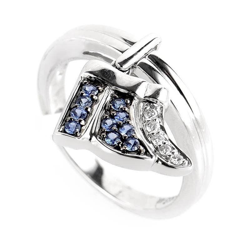 18K White Gold Diamond & Sapphire Little Wing Ring