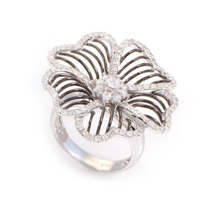 18K White Gold Diamond Set Wire Flower Ring