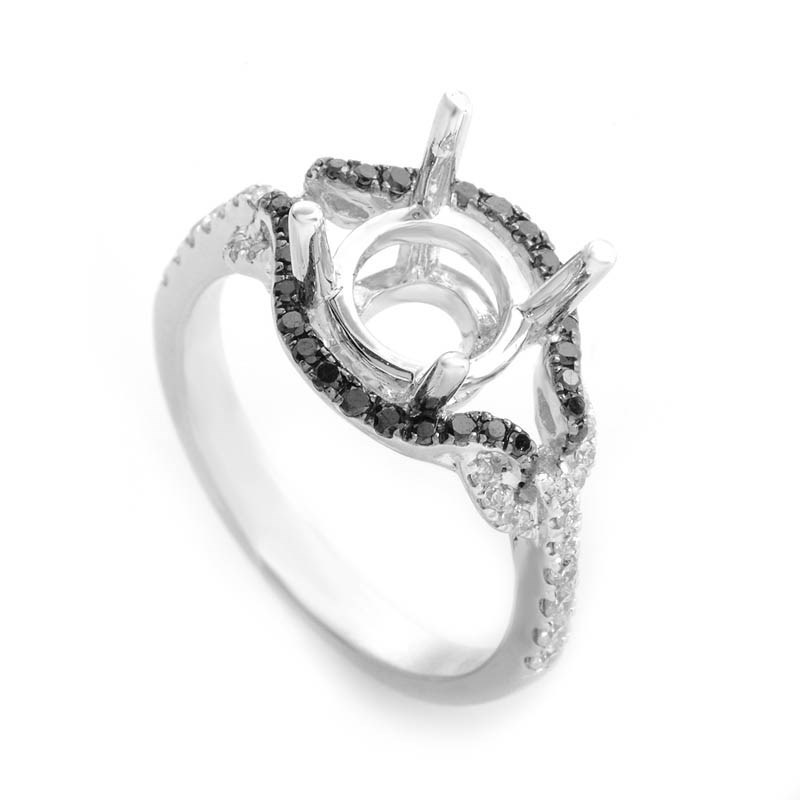 18K White Gold Black & White Diamond Mounting