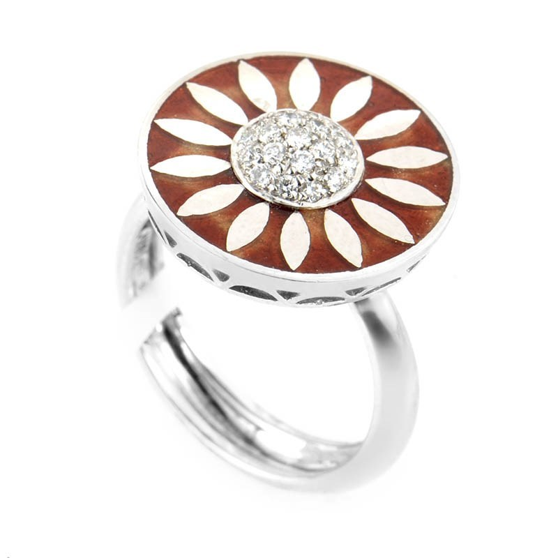 18K White Gold Diamond Set Sunflower Ring