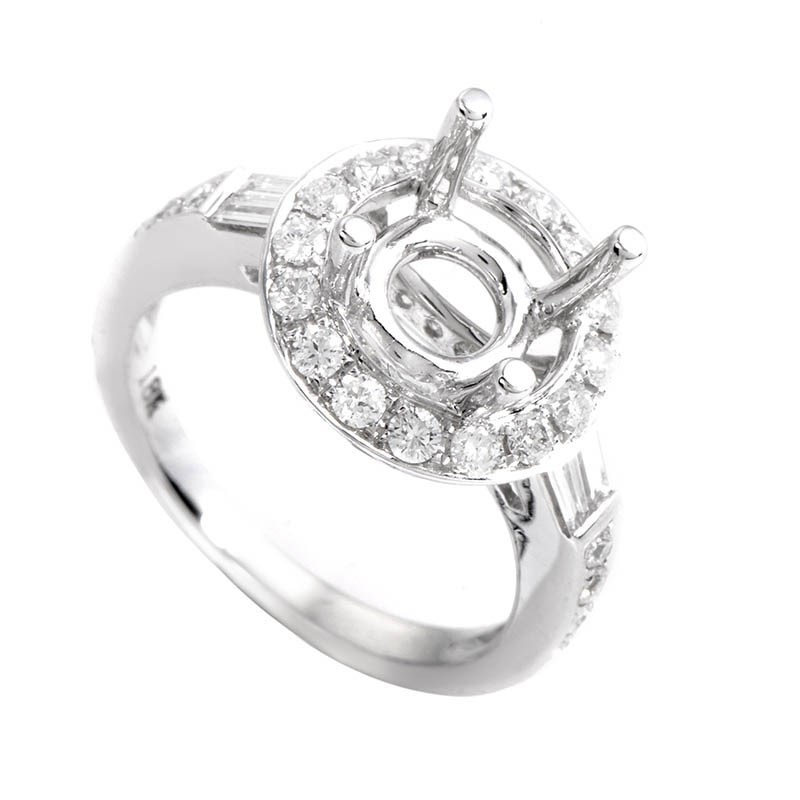 Marvelous Diamond & 18K White Gold Bridal Mounting