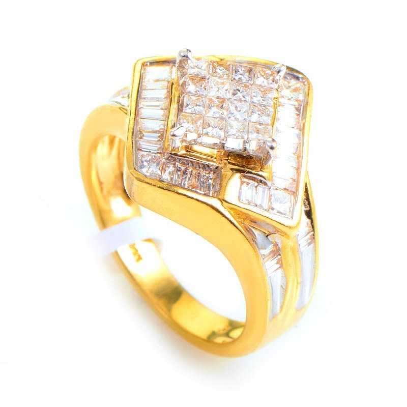 14K Yellow Gold Invisible Set Diamond Ring