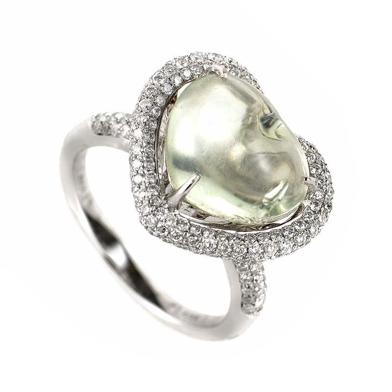 18K White Gold Green Amethyst Heart & Diamond Ring