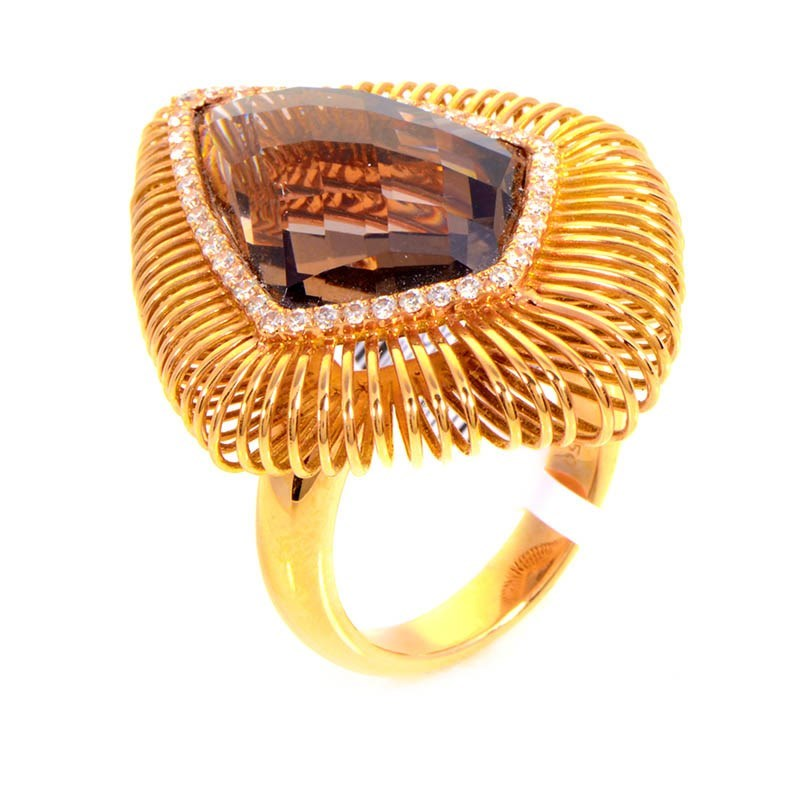 18K Rose Gold Smokey Quartz & Diamonds Ring