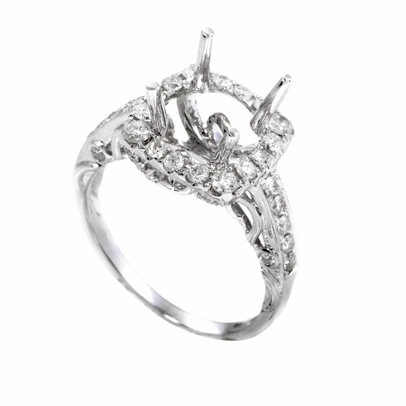 Unique 18K White Gold Diamond Bridal Mounting