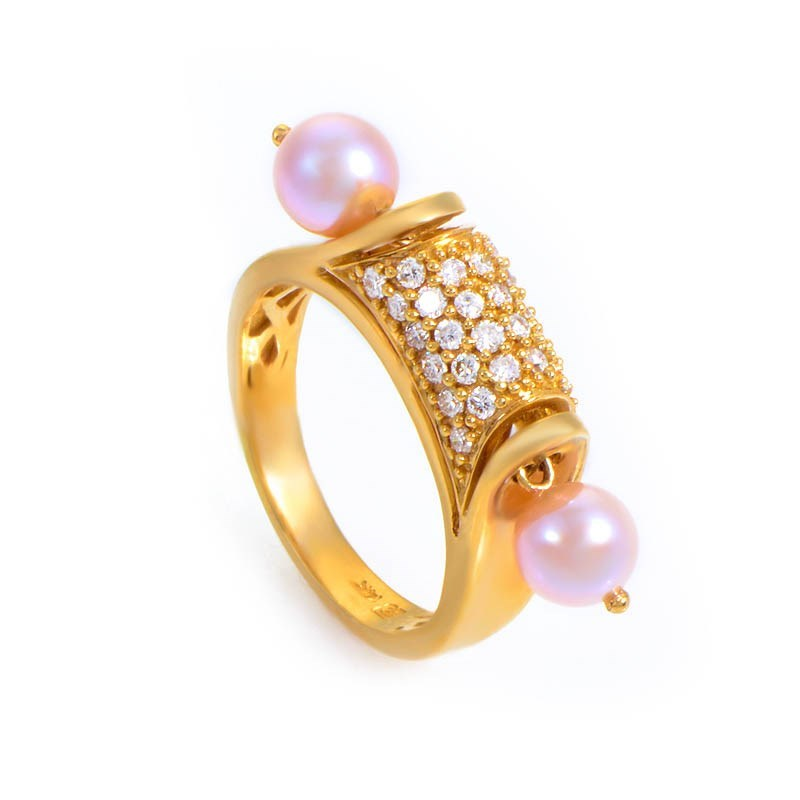 14K Yellow Gold Pink Pearl & Diamond Ring
