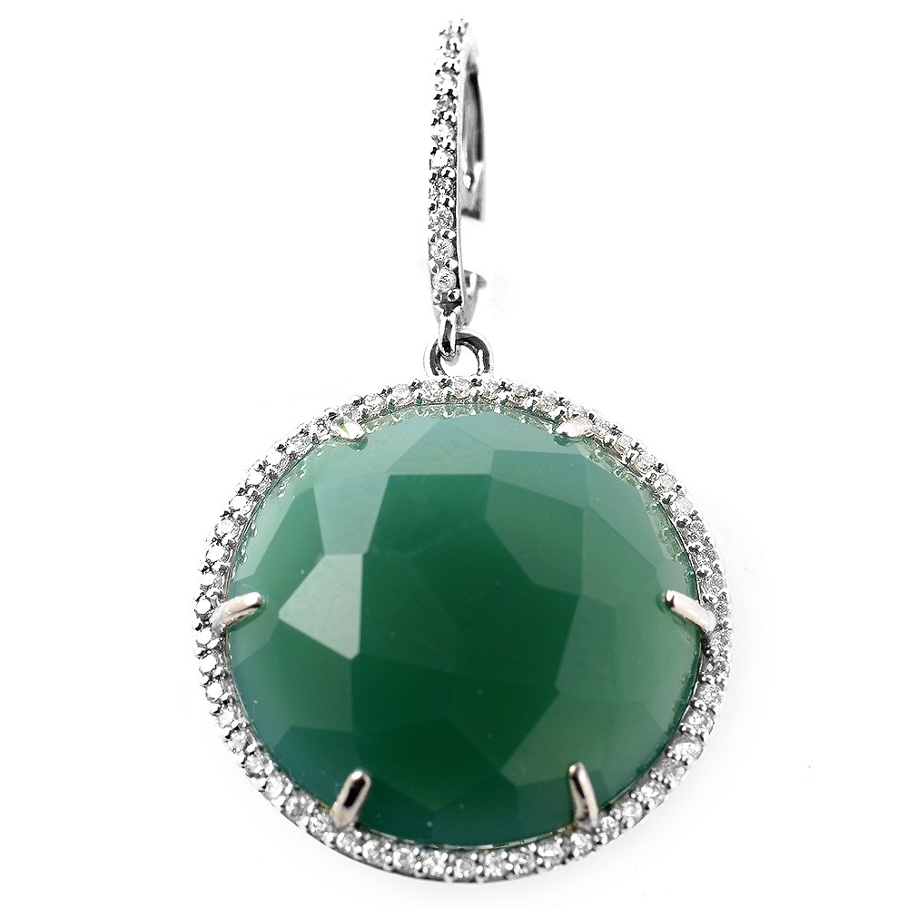 Round 18K White Gold Diamond & Green Agate Chainless Pendant