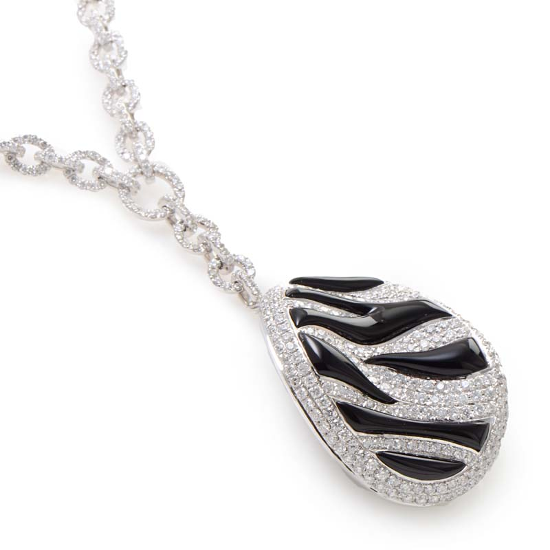 18K White Gold Zebra Stripped Diamond Pave Oval Pendant 0514G1