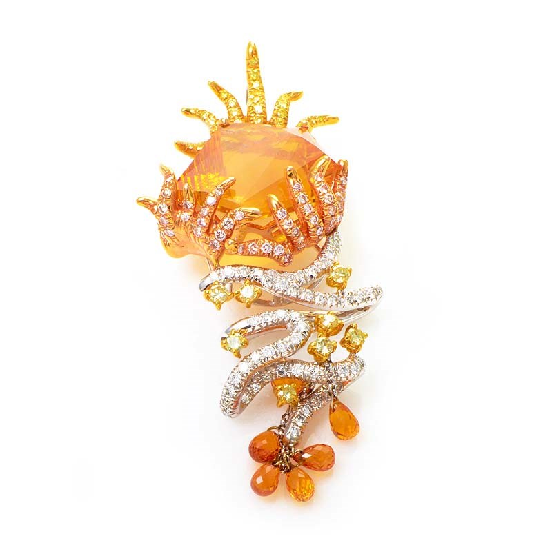 18K Multi-Gold Citrine & Diamond Pendant 0514G