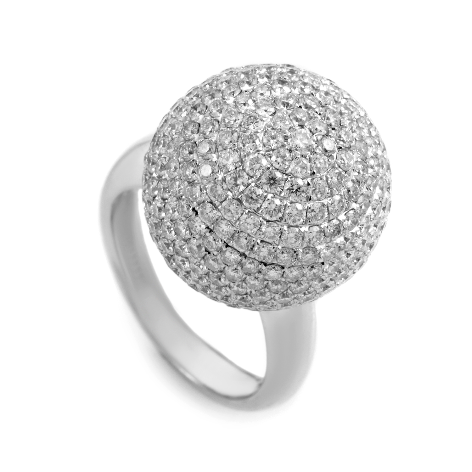 18K White Gold Diamond Pave Sphere Ring AN61991