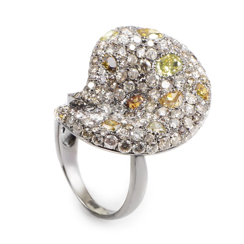 18K White Gold Unique Diamond Pave Ring BSR871
