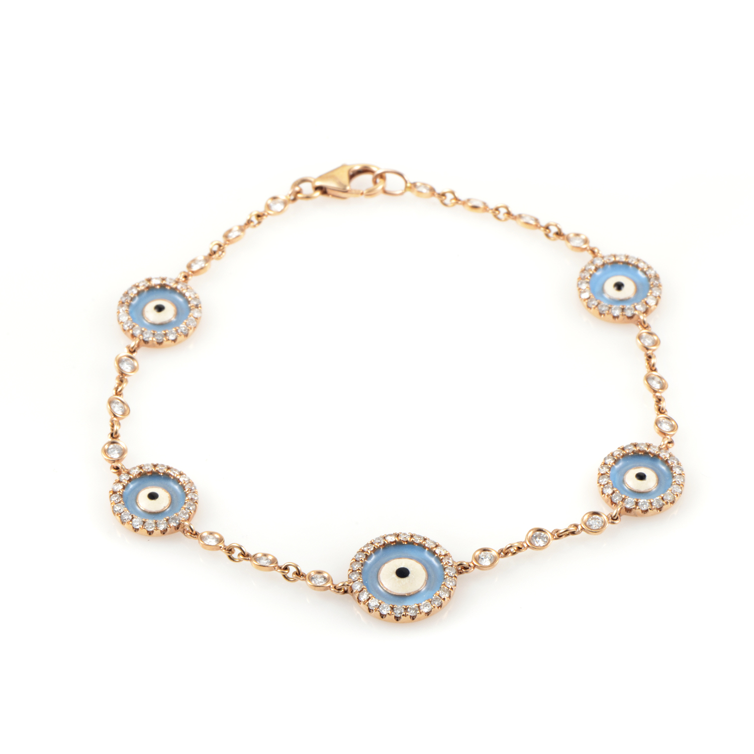 Women's 18K Rose Gold Diamond & Enamel Evil Eye Bracelet BT21941RRZ