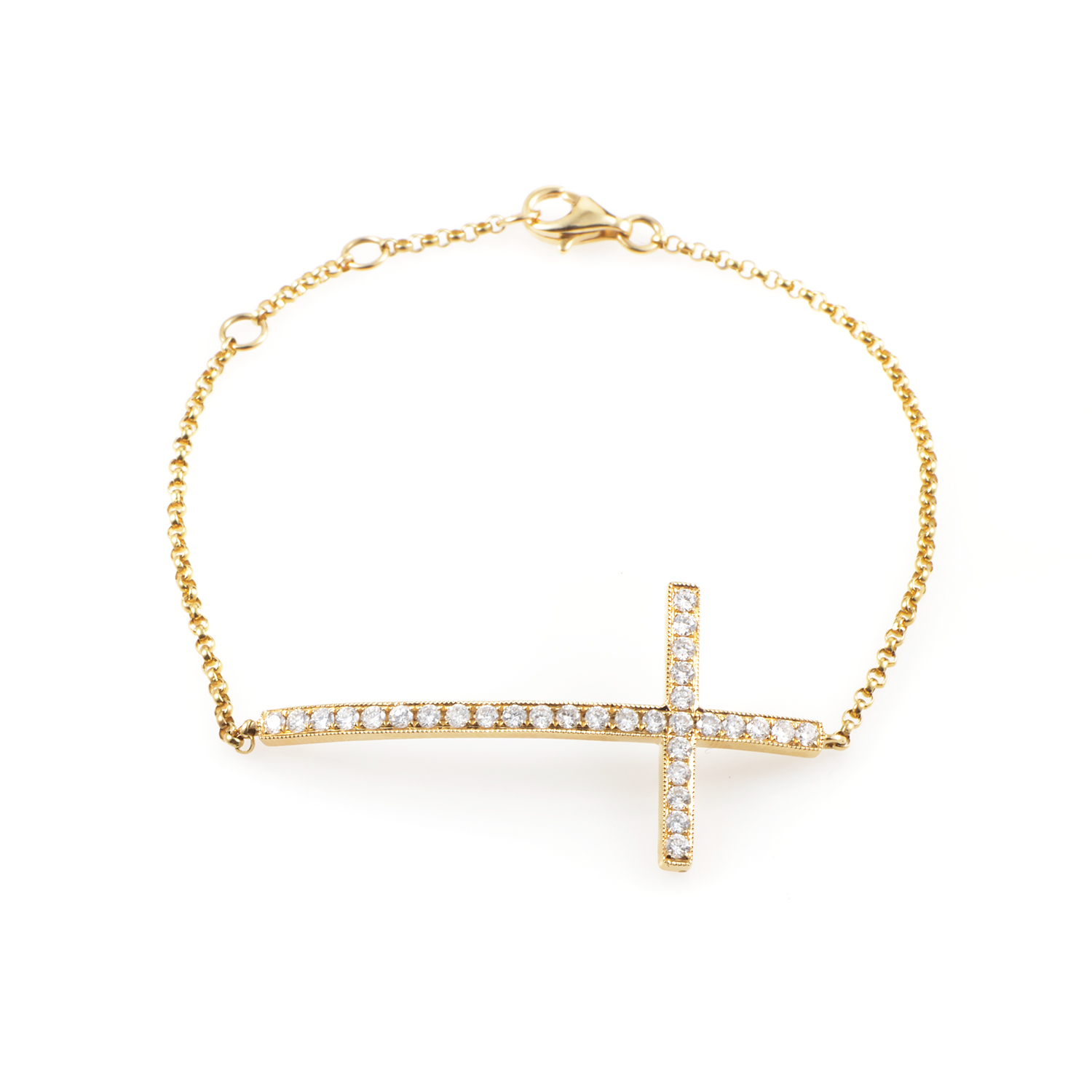Women's 18K Yellow Gold Diamond Cross Bracelet BT24051RZZ