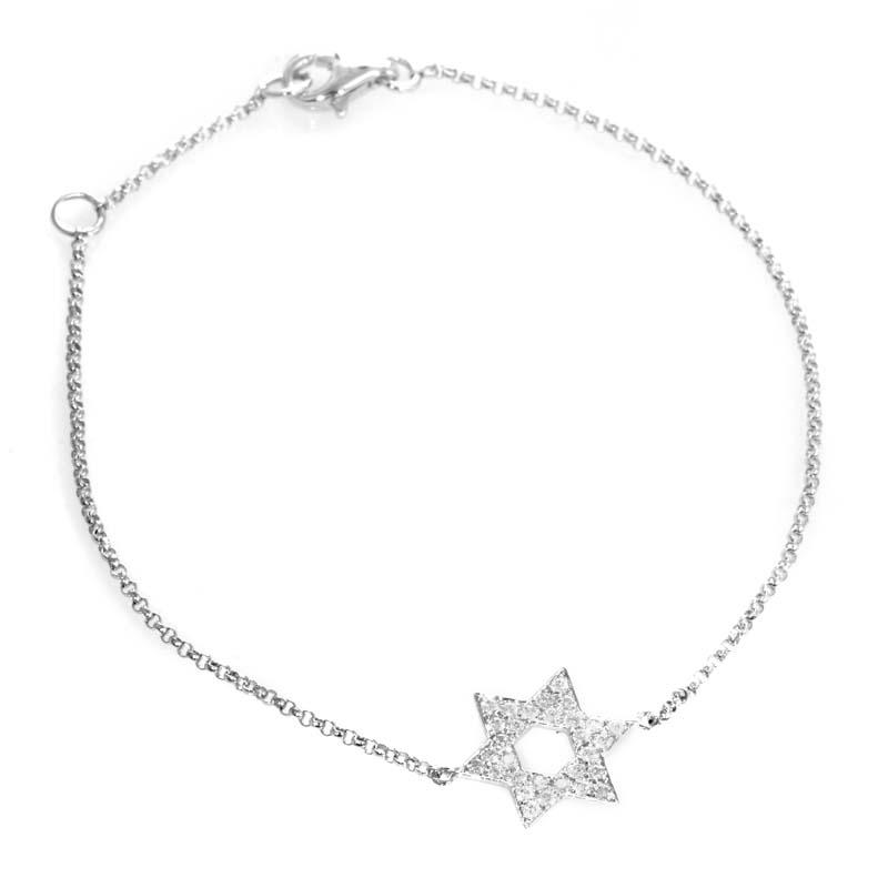 18K White Gold Diamond Pave Star Of David Bracelet BT30221RBZ