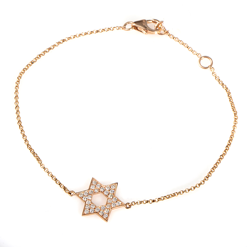 18K Yellow Gold Diamond Pave Star Of David Bracelet BT30221RRZ